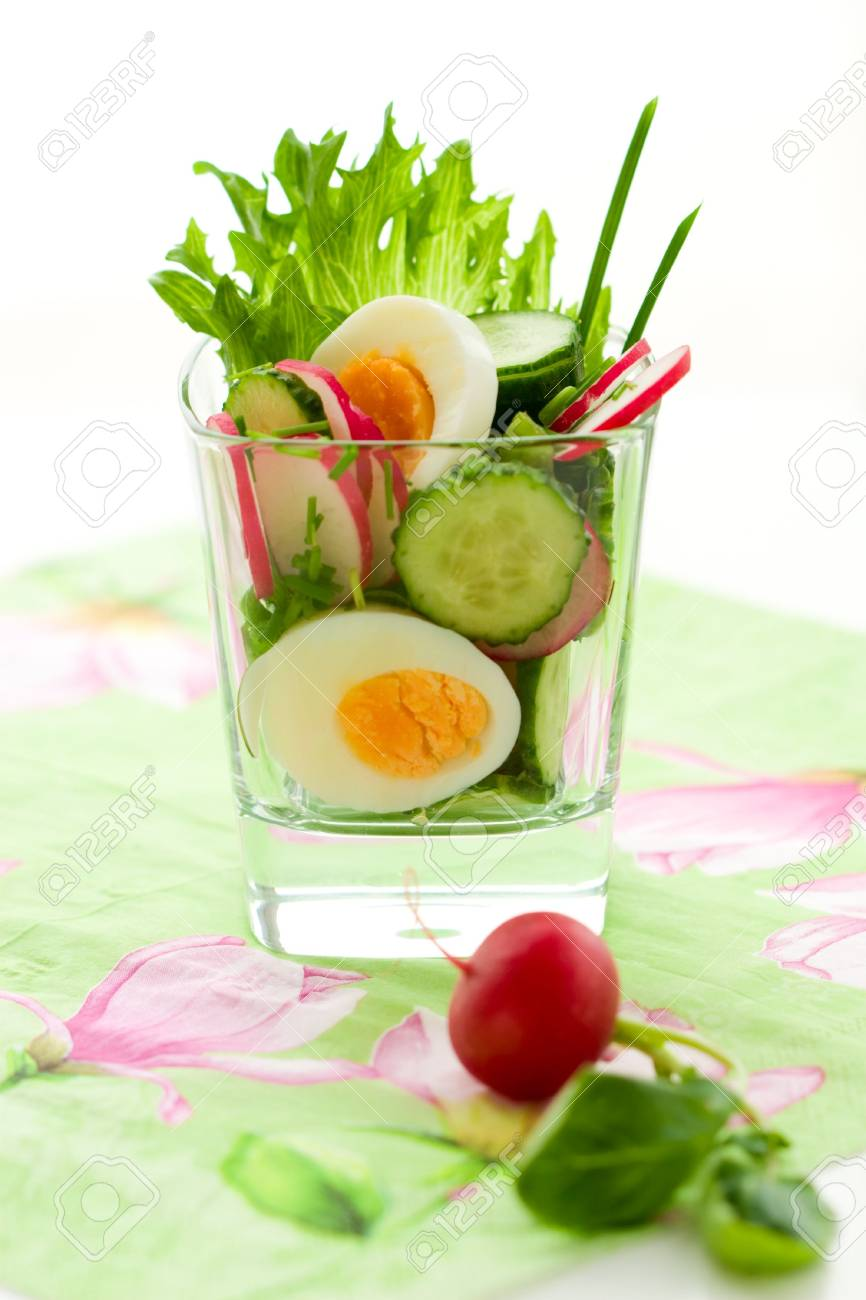 salad with cucumber,radish and egg Stock Photo - 6676230