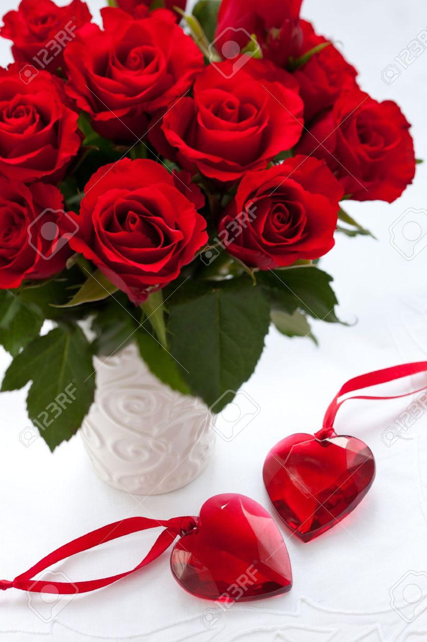 red roses in vase and hearts for valentine's day stock photo, Natural flower