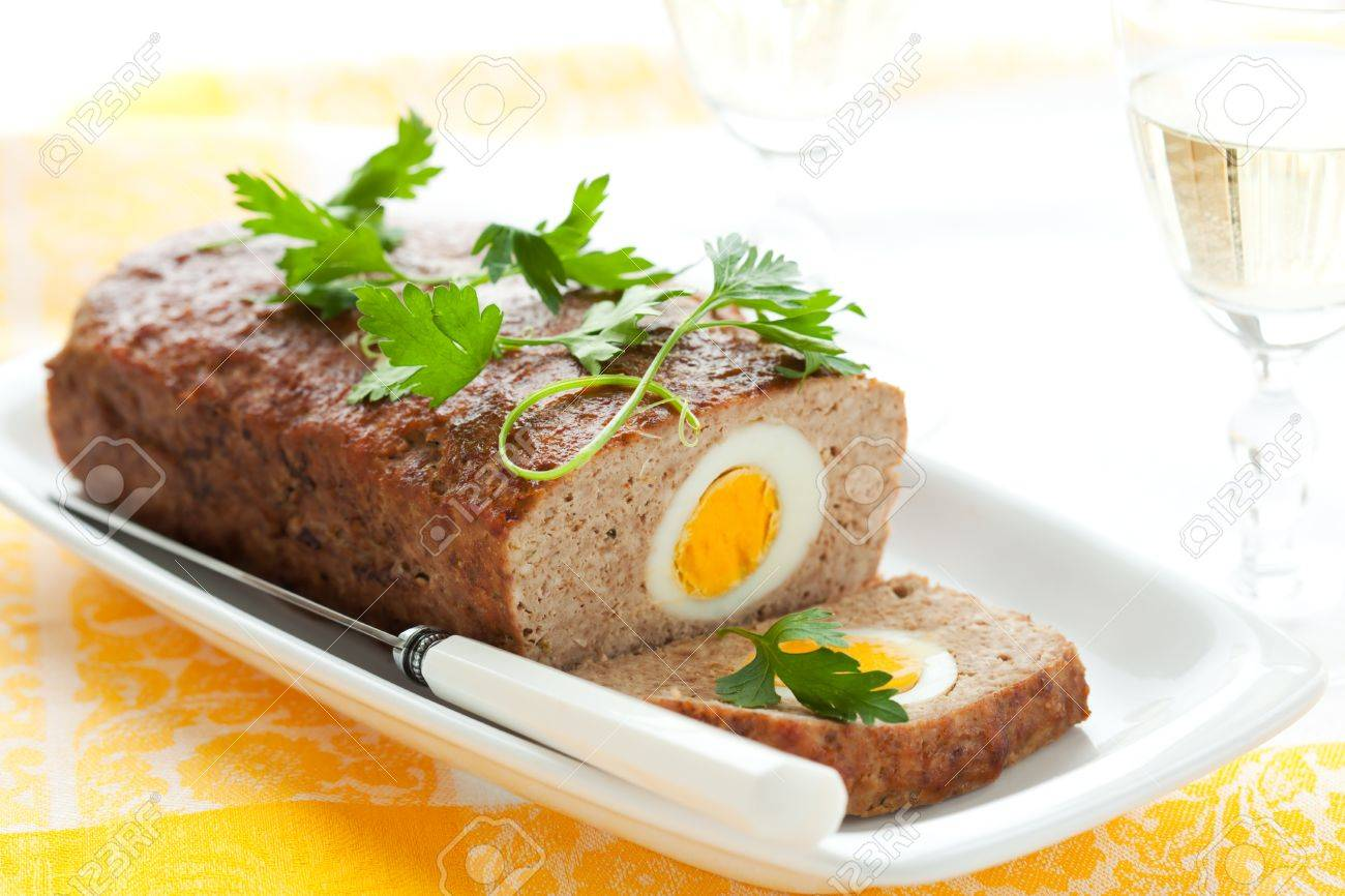 baked meatloaf with boiled eggs for Easter Stock Photo - 8753104