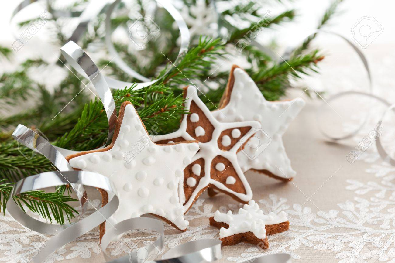 Homemade Christmas cookie stars with decoration Stock Photo - 10539063