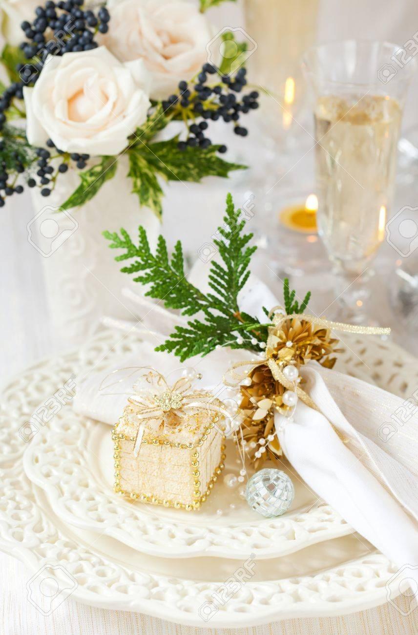 A festive table laid for Christmas Stock Photo - 10563462