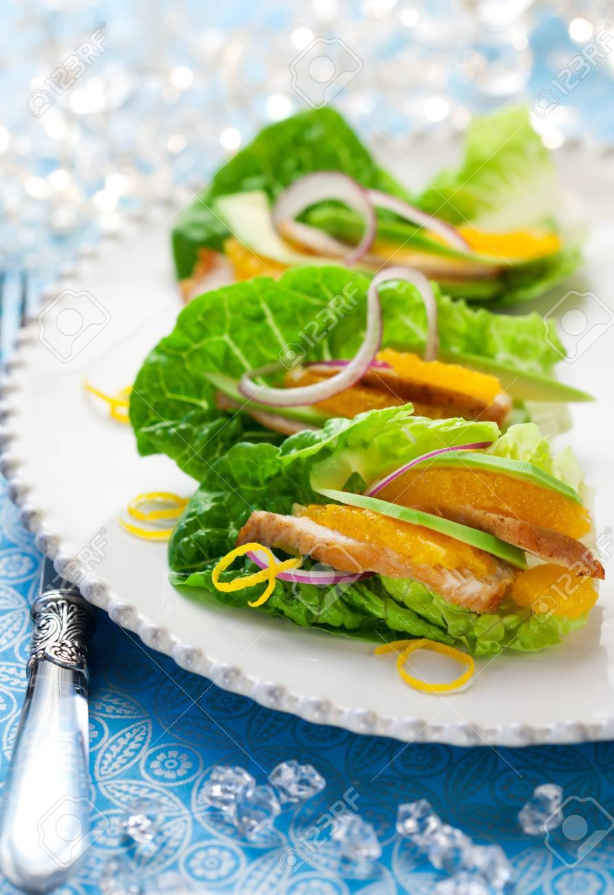 Chicken salad on lettuce leaves for holiday Stock Photo - 11102737