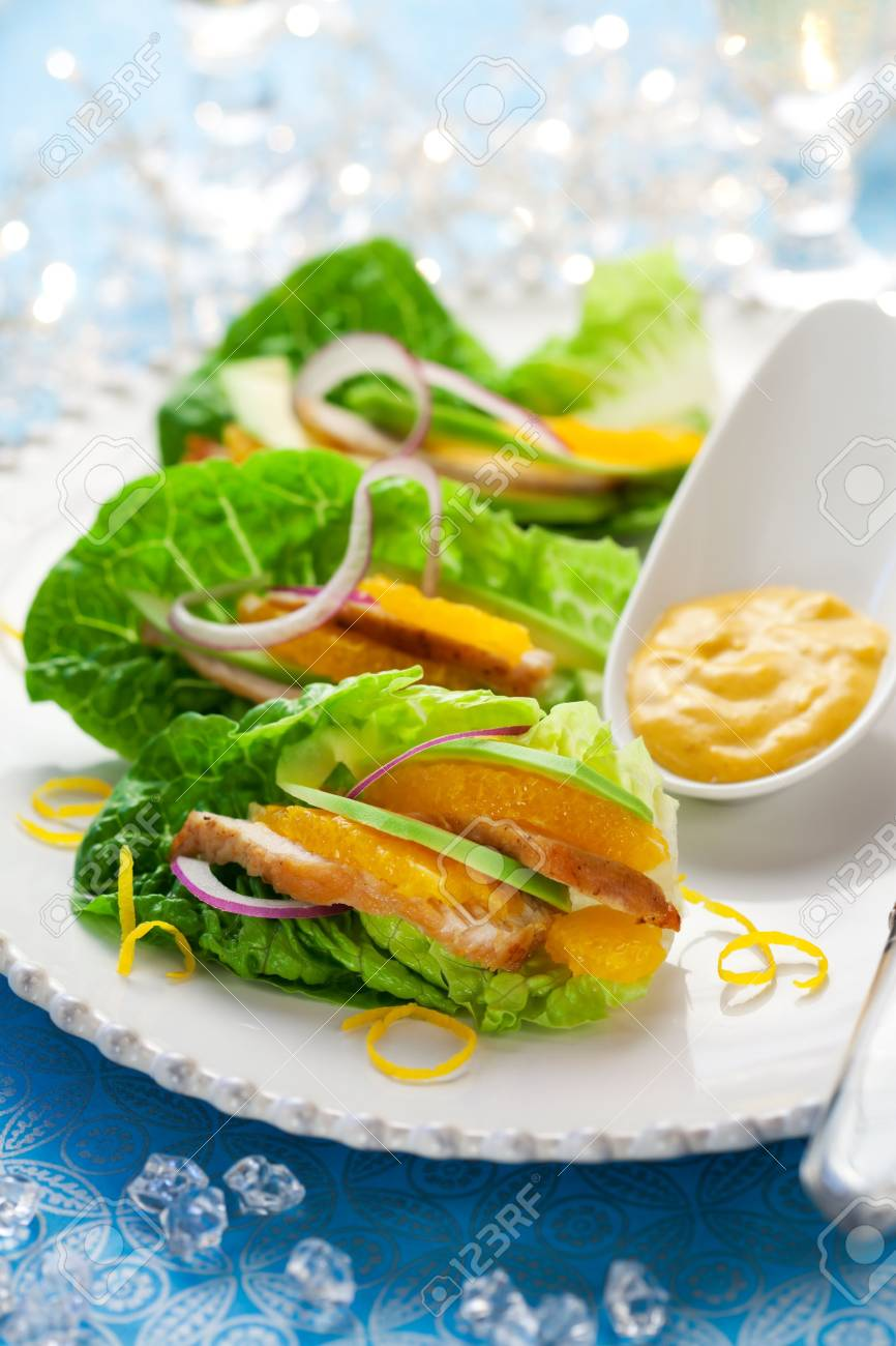 Chicken salad on lettuce leaves for holiday Stock Photo - 11102735