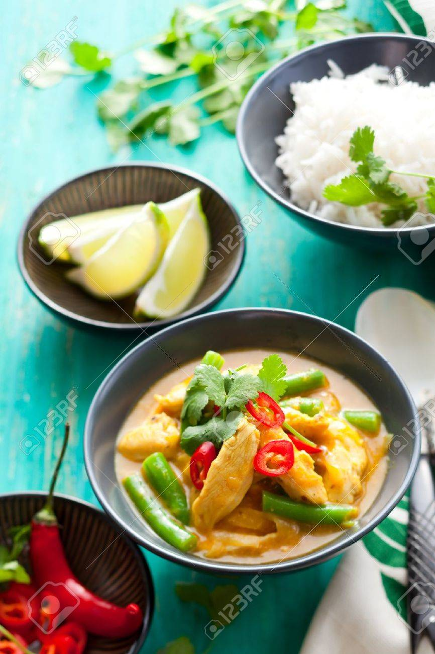 Chicken curry with green beans  and rice Stock Photo - 13330984