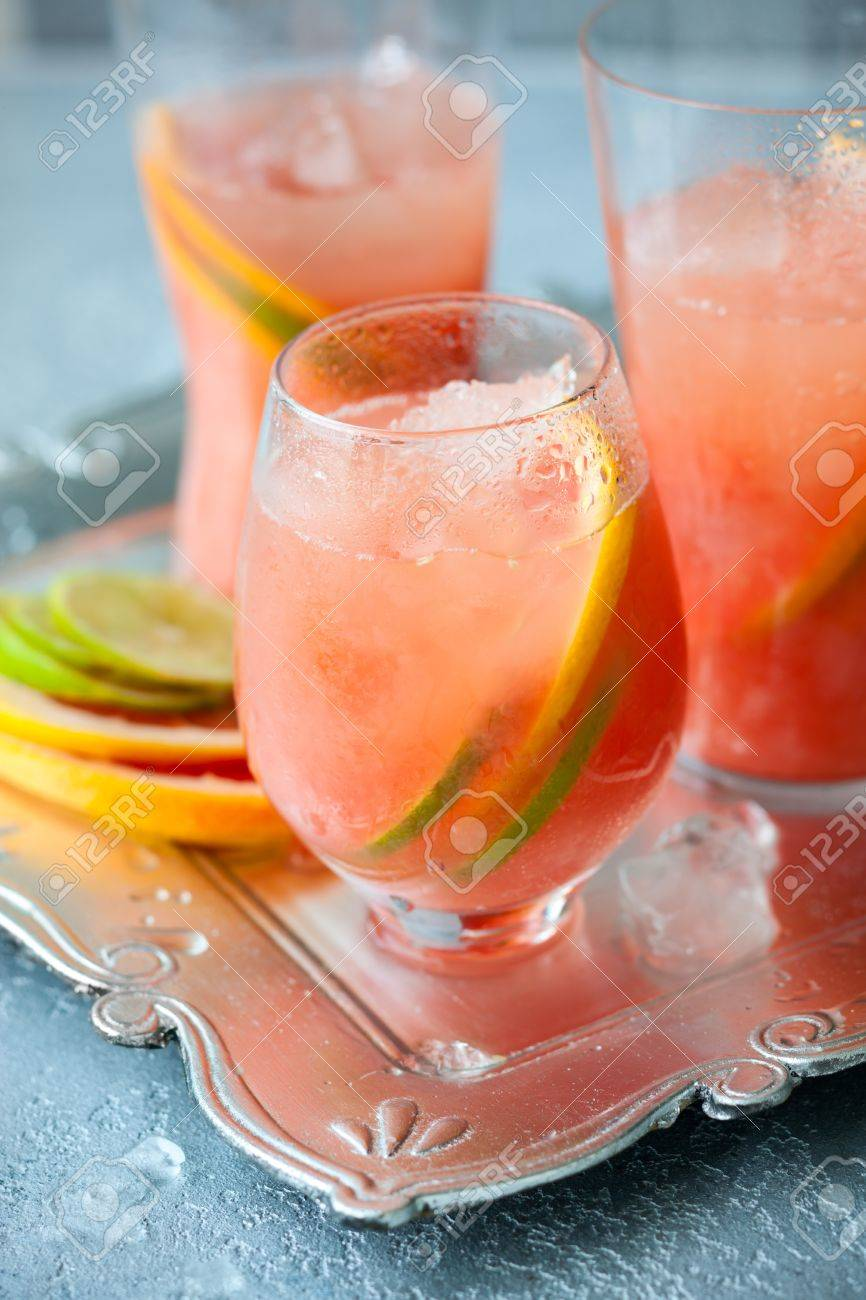Pink grapefruit drinks  with crushed ice Stock Photo - 13729443