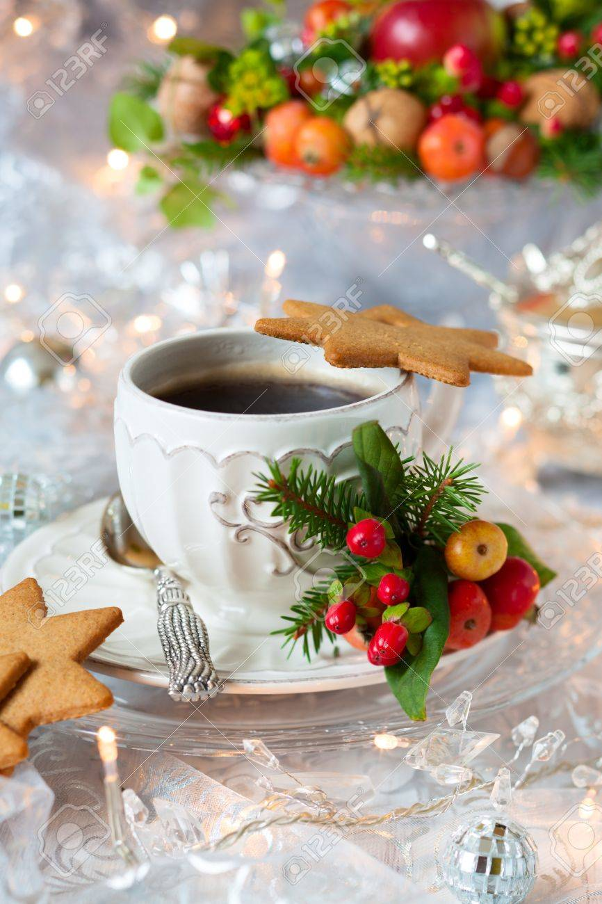 Coffee and Christmas cookies with decor Stock Photo - 15801256