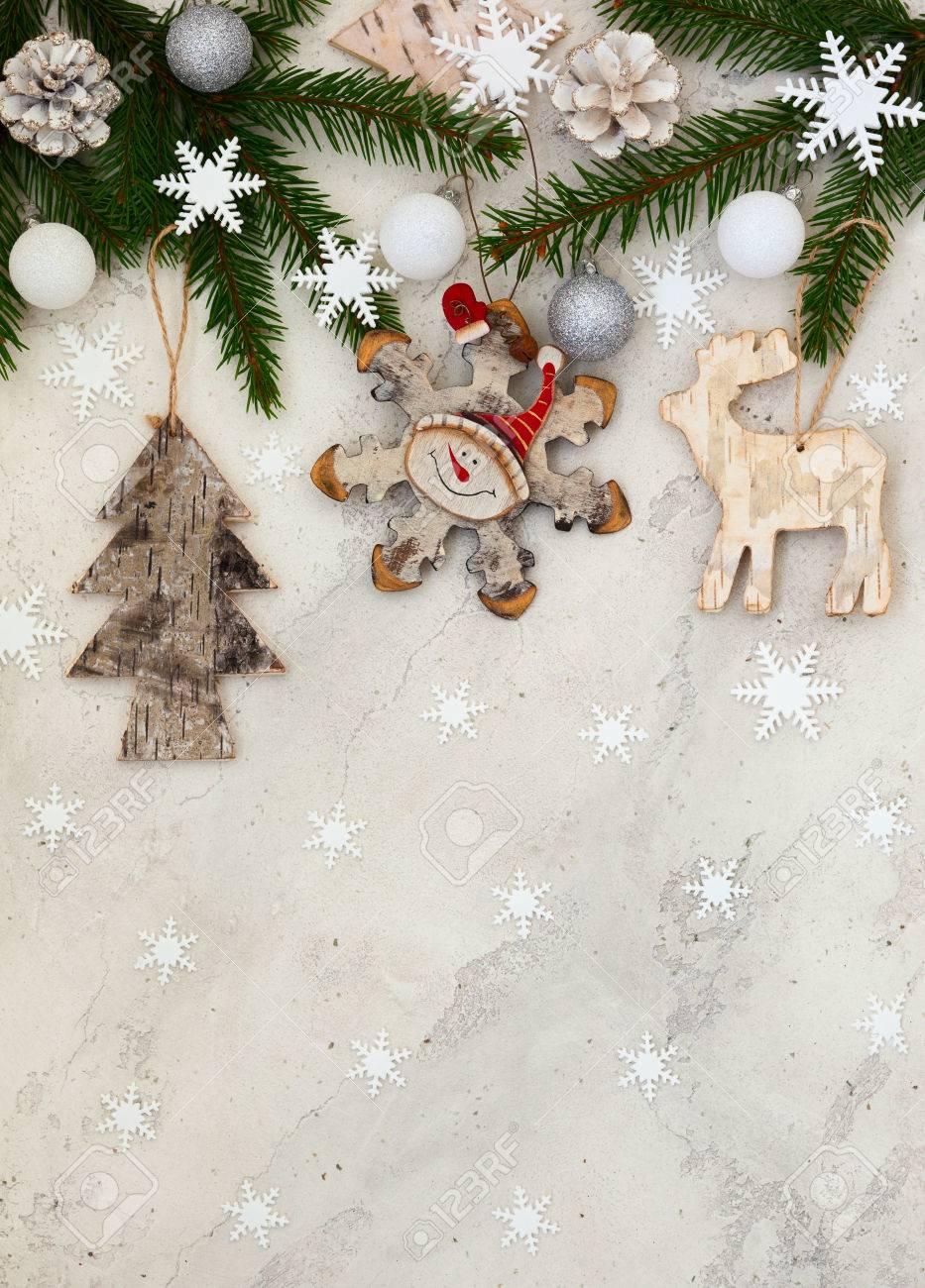 Christmas decoration on the grey cracked stone background Stock Photo - 22213796