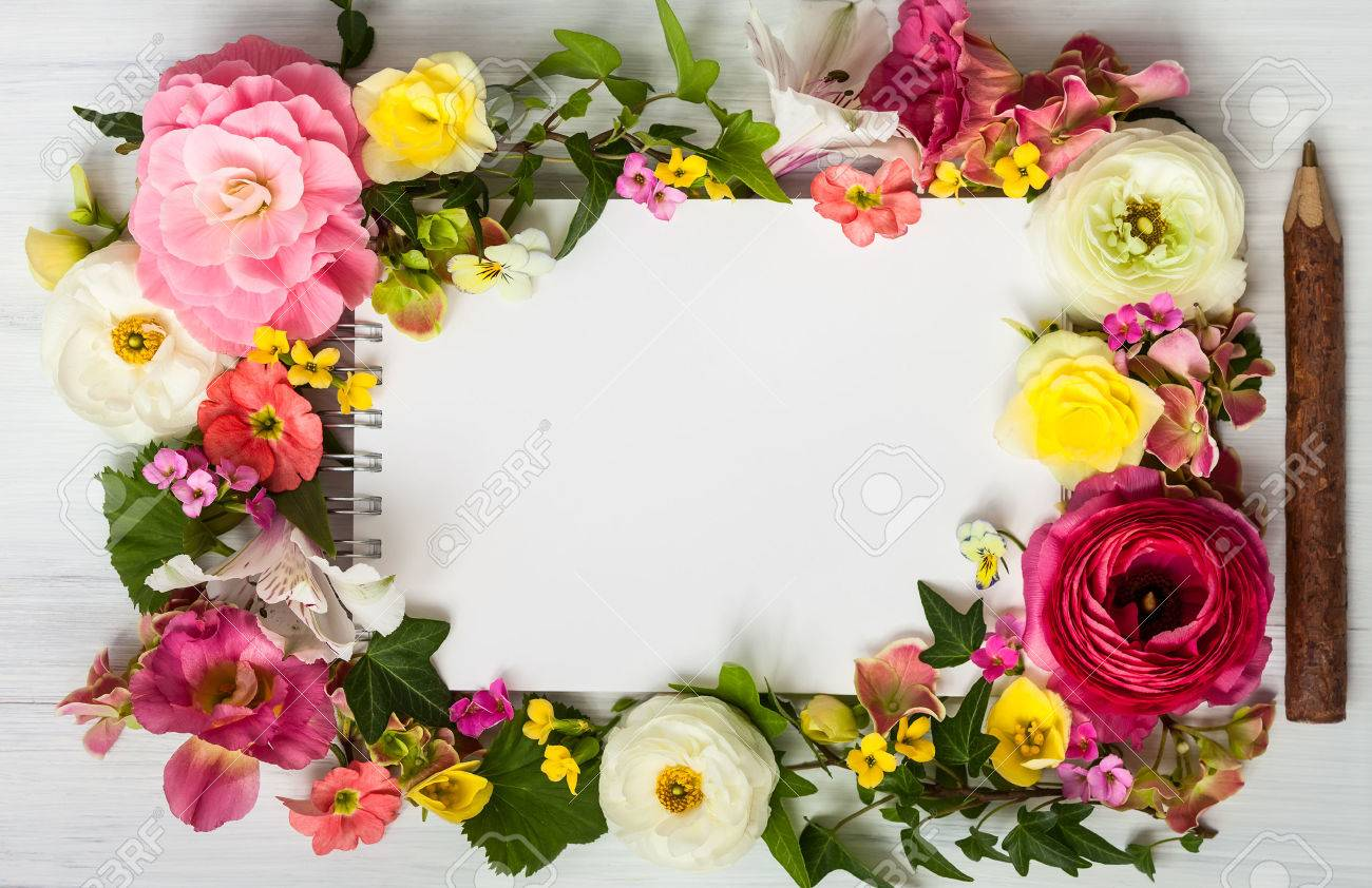 Blank Notepad Pen And Flowers Over White Wooden Background Top Stock Photo Picture And Royalty Free Image Image 39293708