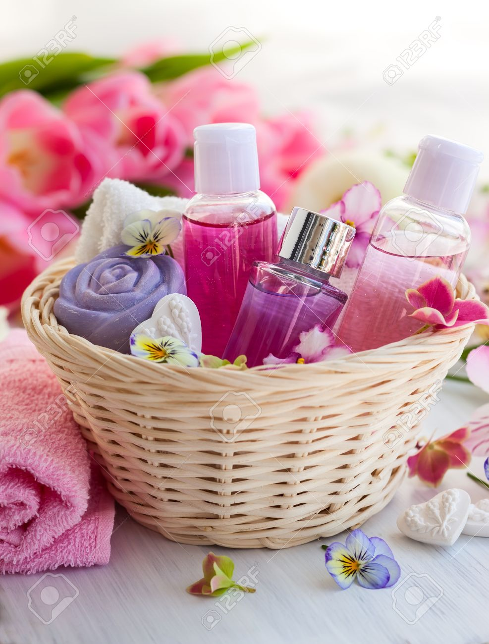 Spa Bath Toiletries Set In Basket With Fresh Flowers Stock Photo ...
