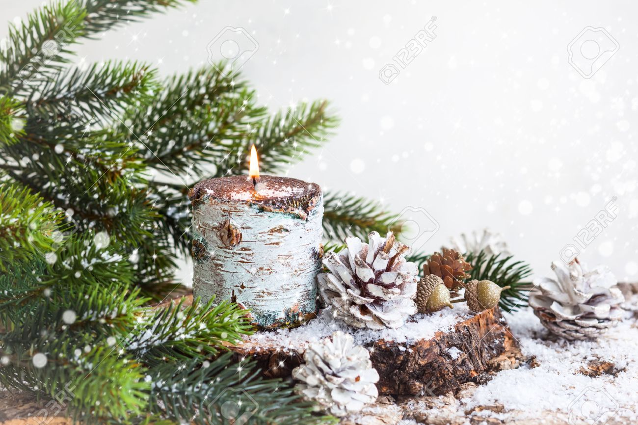 Pine Branches For Decoration Christmas Decoration With Burning Candlefir Branches And Pine