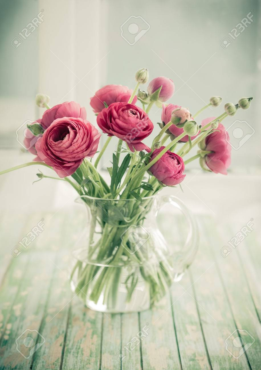 Bouquet Of Pink Ranunculus Vintage Style Stock Photo Picture And
