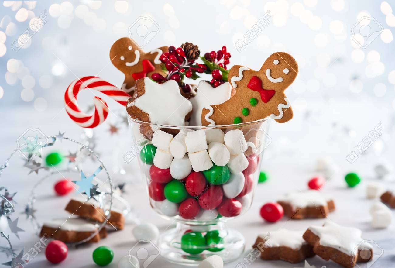Christmas Cookies, Sweet Candies,marshmallow In Glass - Perfect ...