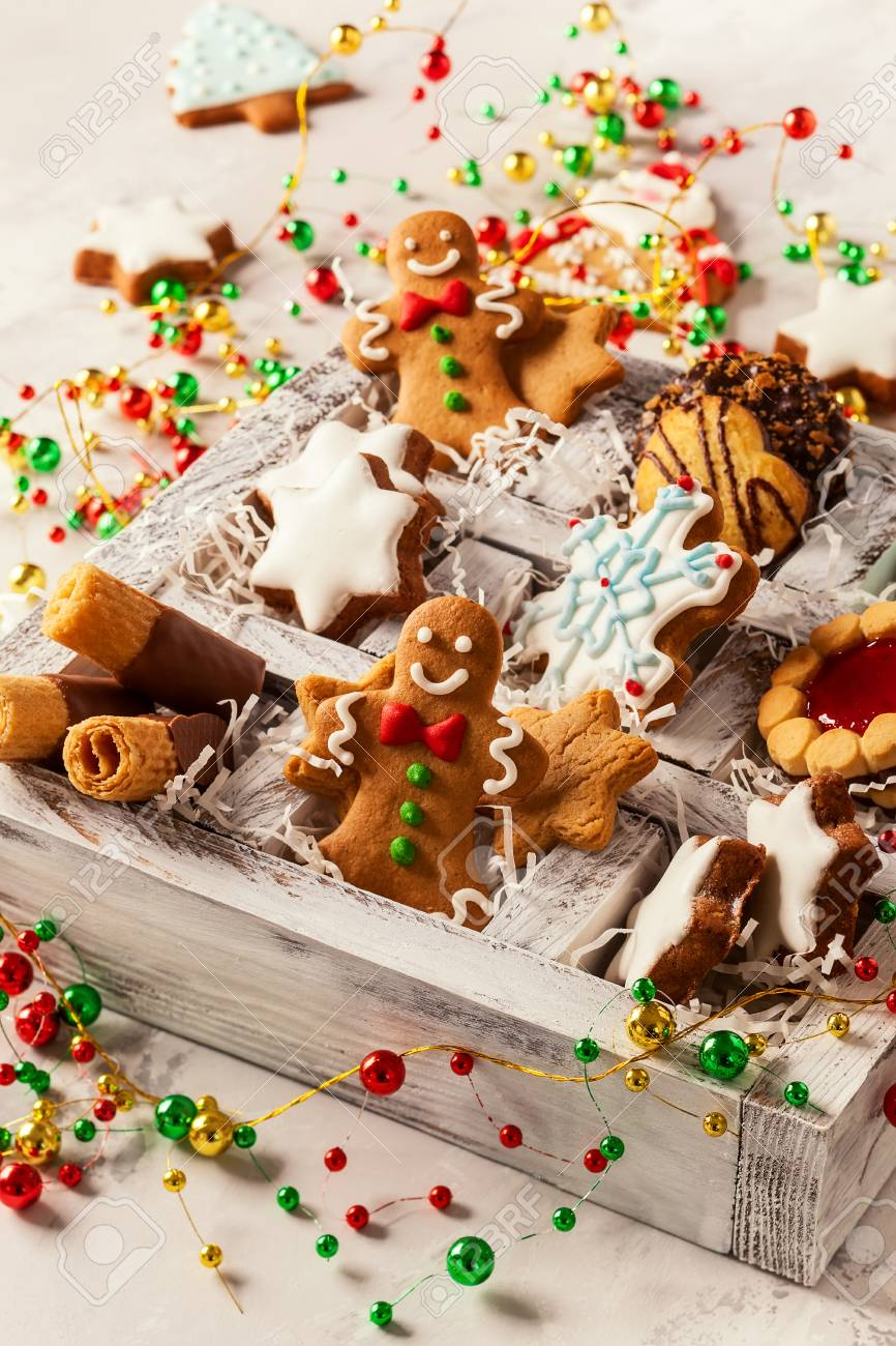 Christmas Cookies Box.Assorted Christmas Cookies In Wooden Box