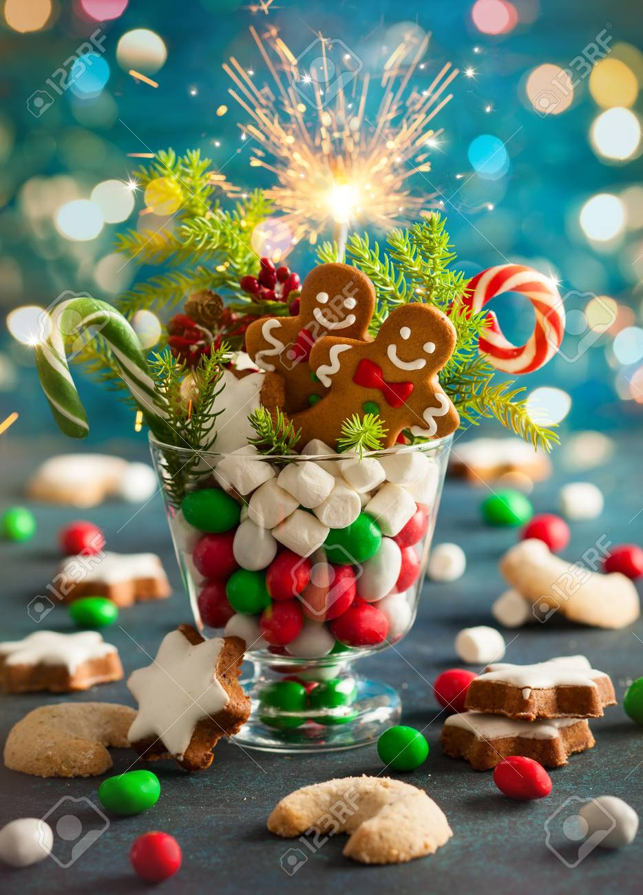Weihnachtsplätzchen, Süße Süßigkeiten, Eibisch Im Glas - Perfekte ...