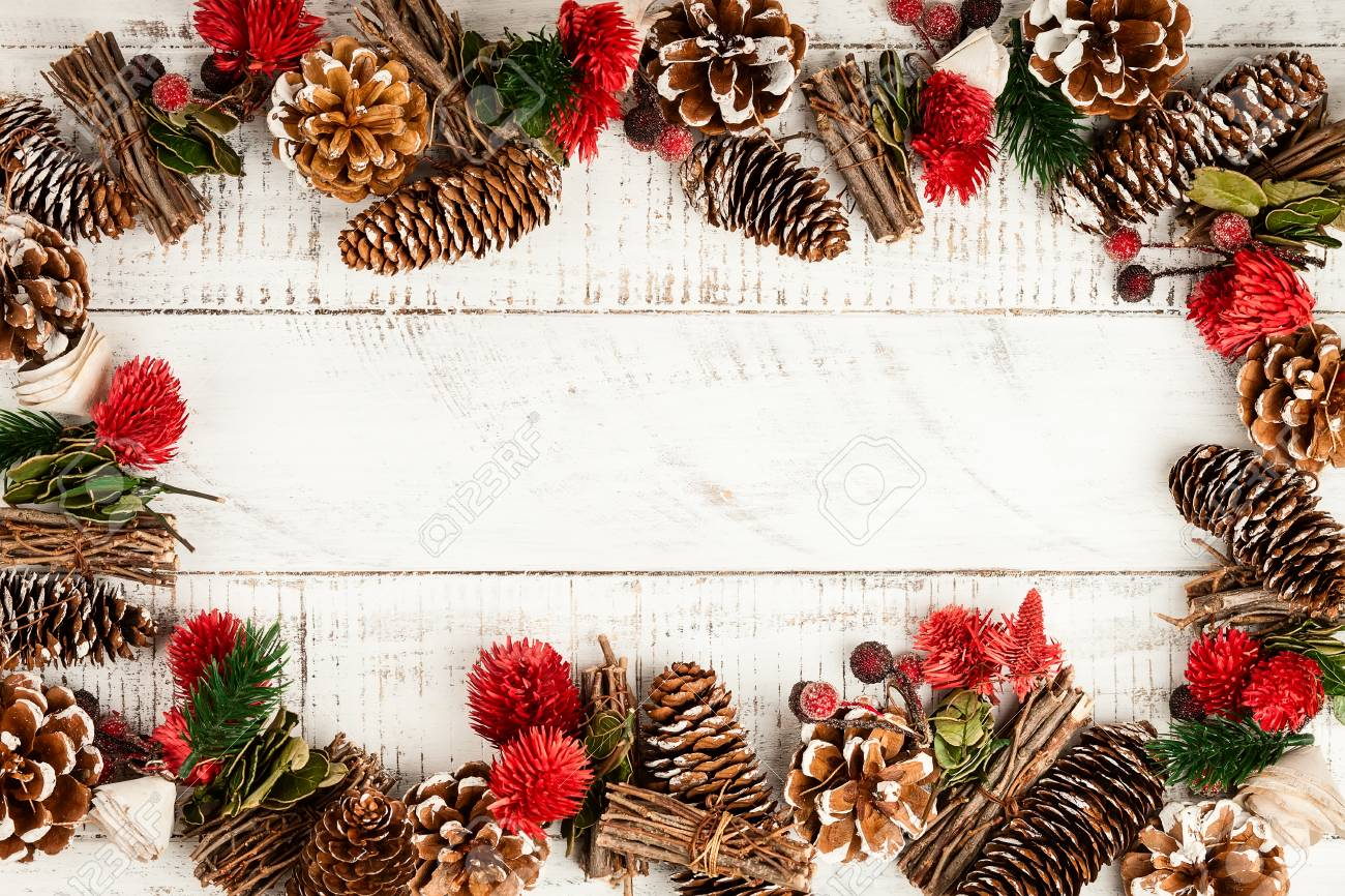 Winter Background With Rustic Christmas Garland Using Pine Cones Dried