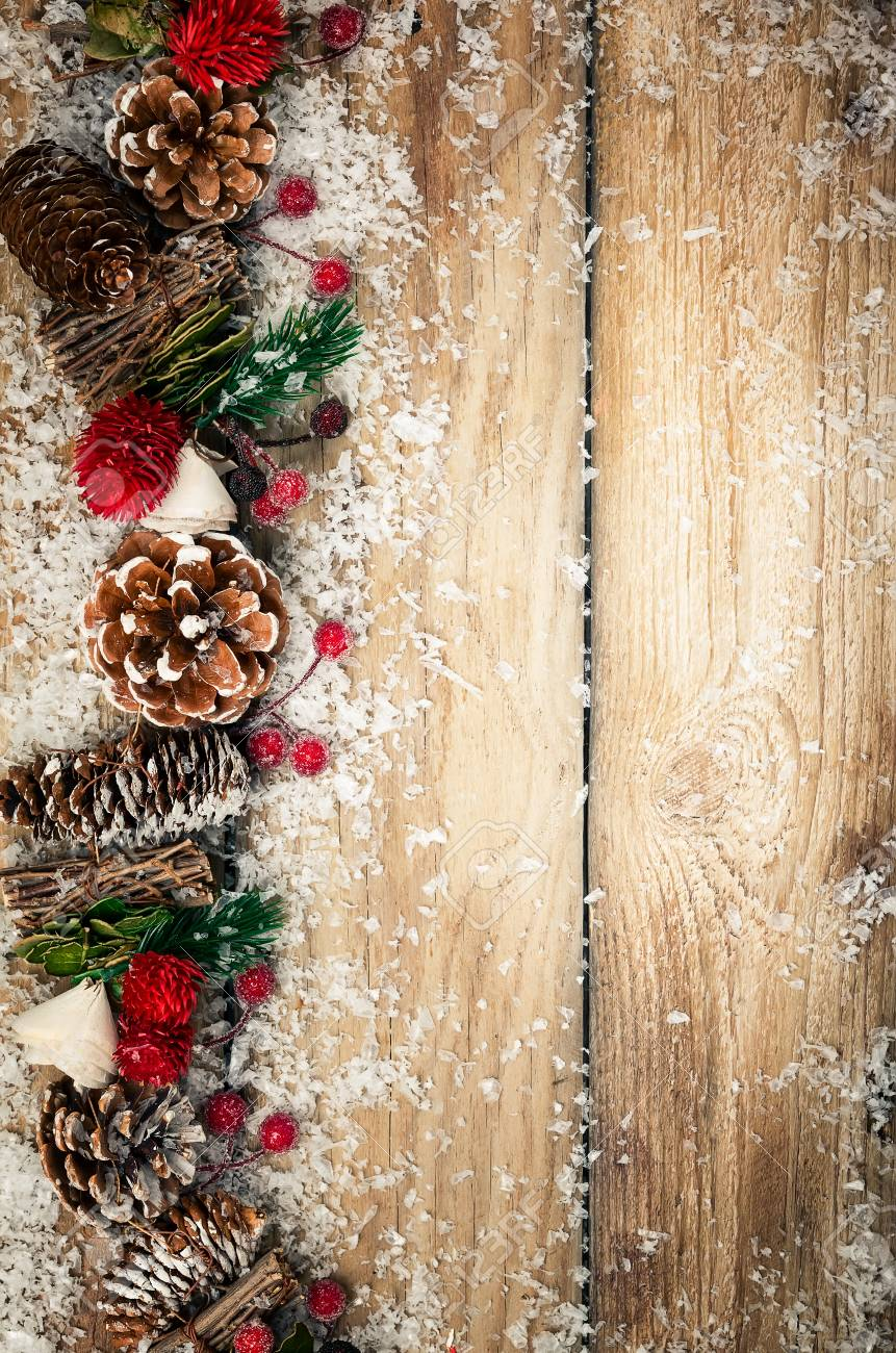 Winter Background With Rustic Christmas Garland Using Pine Cones Dried Stock Photo Picture And Royalty Free Image Image 111584402