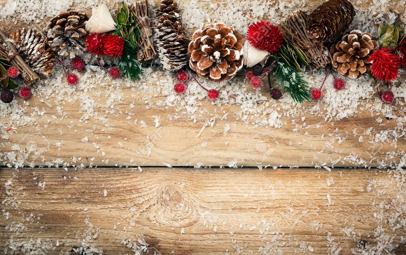 Winter Background With Rustic Christmas Garland Using Pine Cones Stock Photo Picture And Royalty Free Image Image 129955915