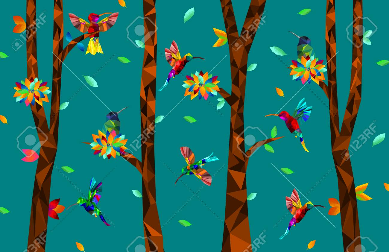 Low poly colorful Hummingbird with tree on falling leaves back