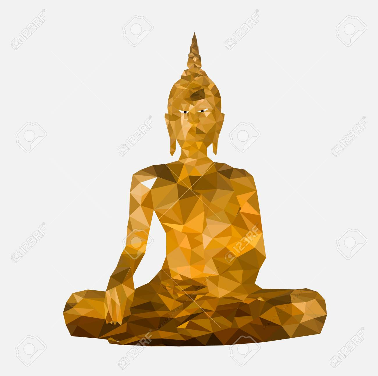 Isolated low poly Buddha statue with white back ground, geometric