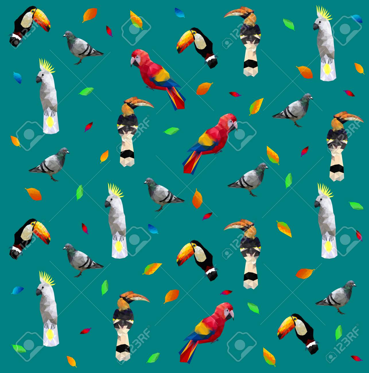 Pattern of Low poly colorful bird(pigeon,hornbills,parrot,toucan,cockatoo)