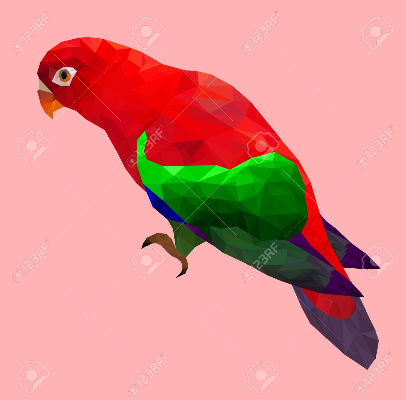 Low poly colorful parrot bird on pink back ground,animal geometric