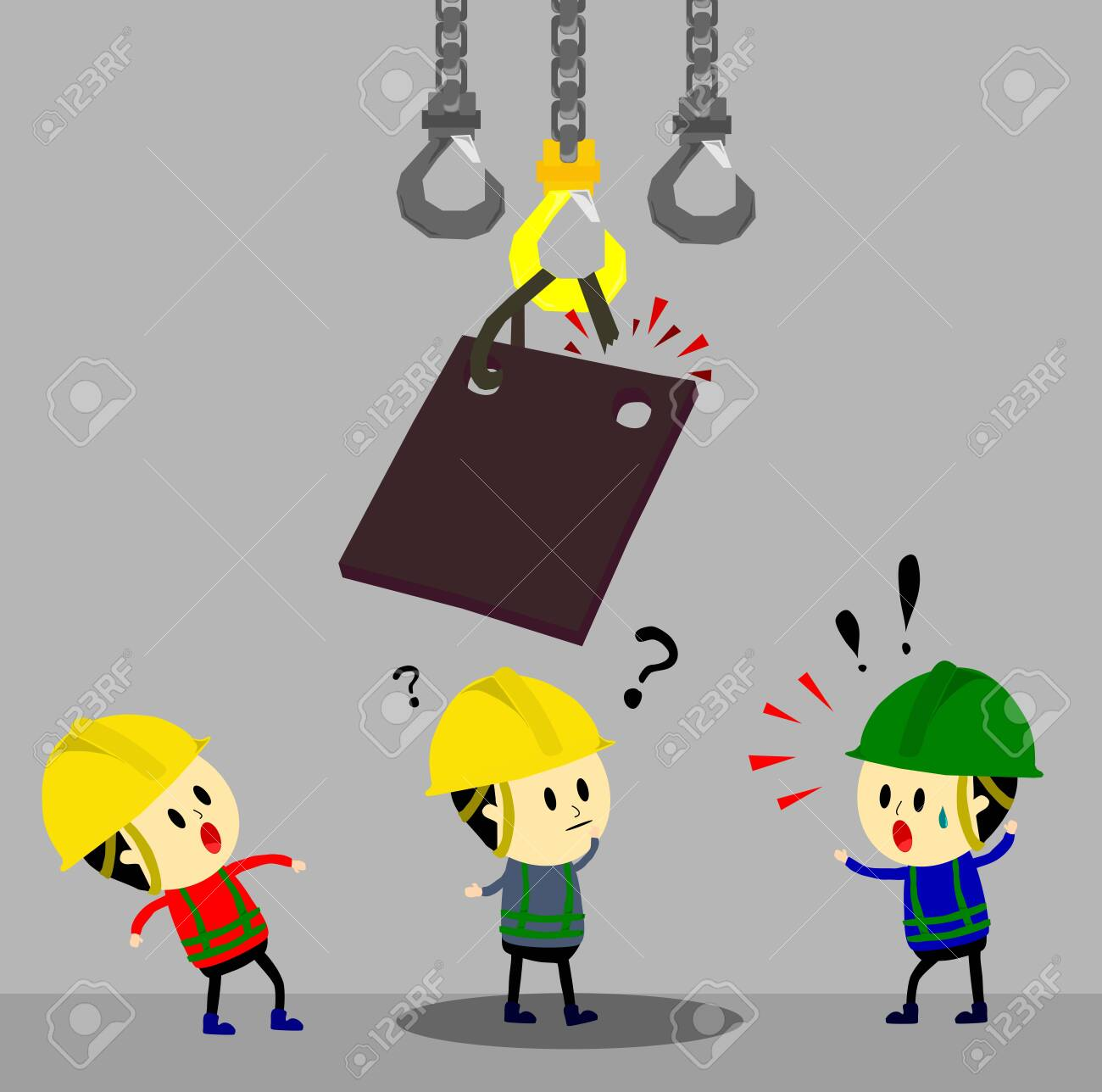 Accident from lifting chain holding heavy metal sheet above worker,unsafe situation,safety engineering cartoon style,Vector - 120781879