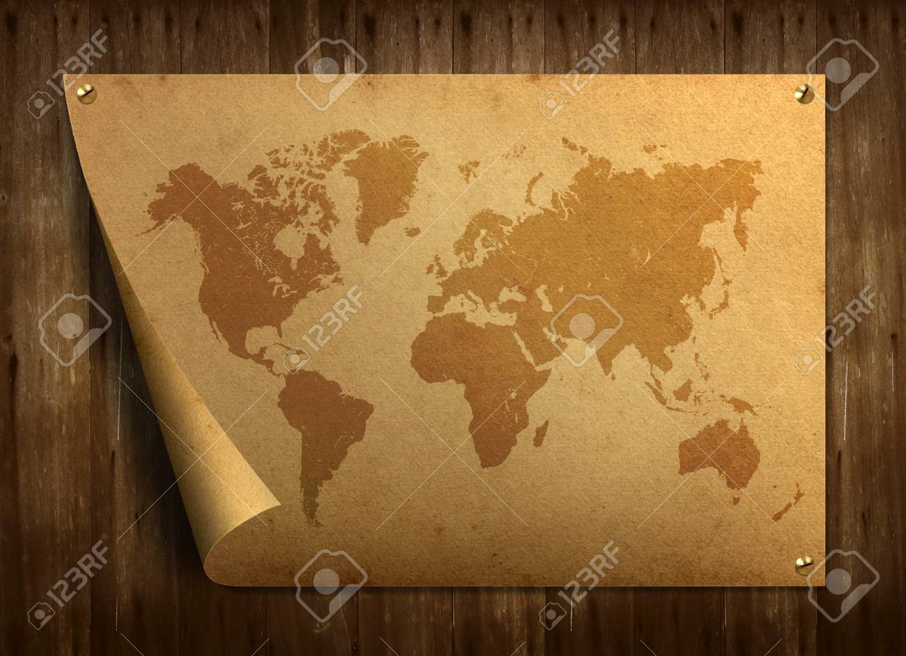 World map on old paper. Stuck on the old wooden floor. Stock Photo - 9544100
