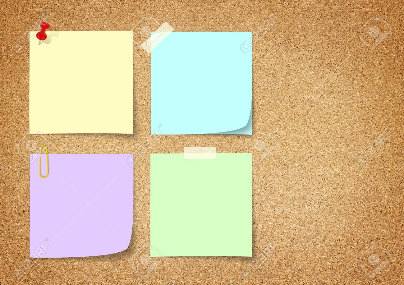 colorful paper note on cork board. Stock Photo - 10016973