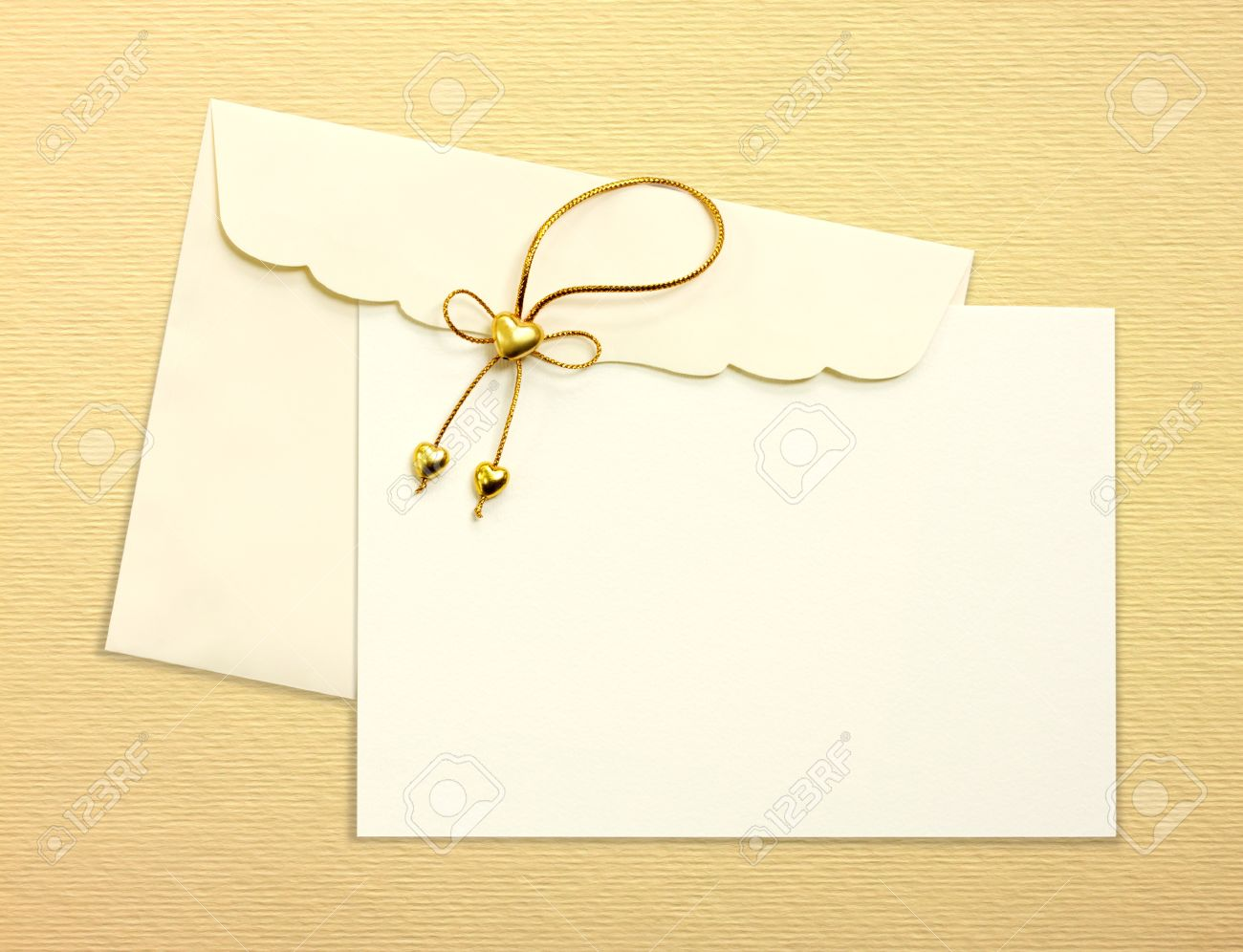 Envelope And Mail Wedding Invitations Golden Heart On Yellow