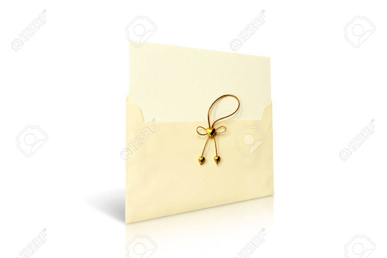 Envelope And Mail Wedding Invitations, Golden Heart Stock Photo ...