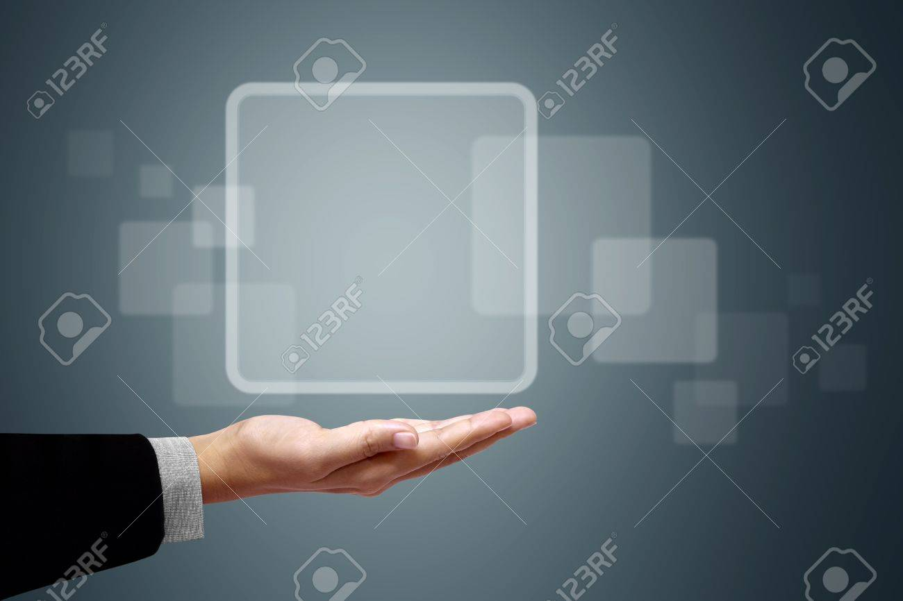 The rectangle is placed on hand businessmen. Stock Photo - 10016984