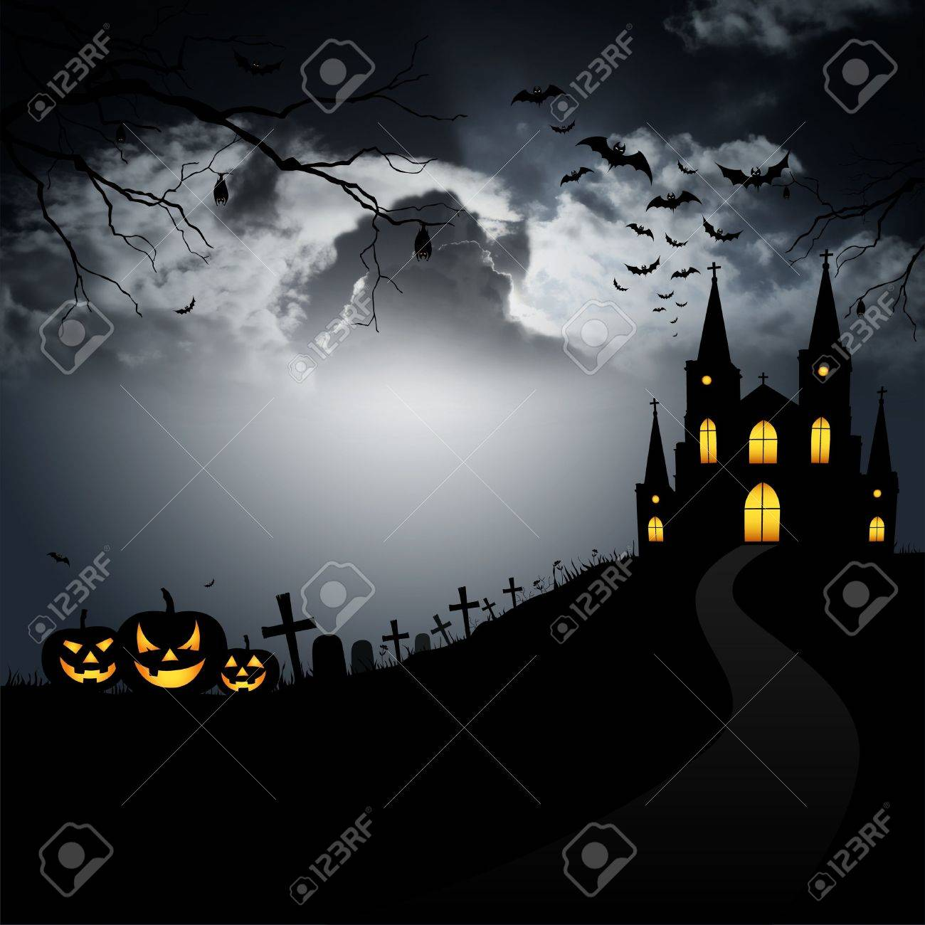 Pumpkin, scary monster in the cemetery on Halloween. Stock Photo - 10588861