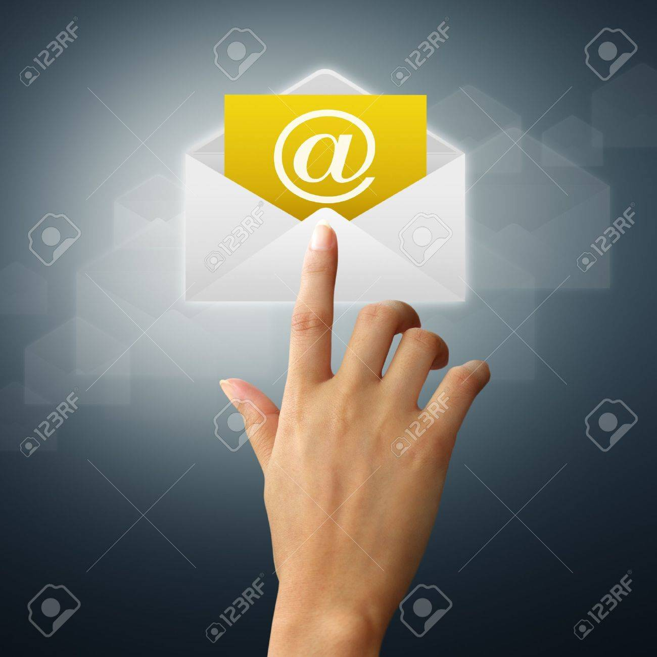 The hands of a feminine touch on the envelope and mail. Stock Photo - 11194822