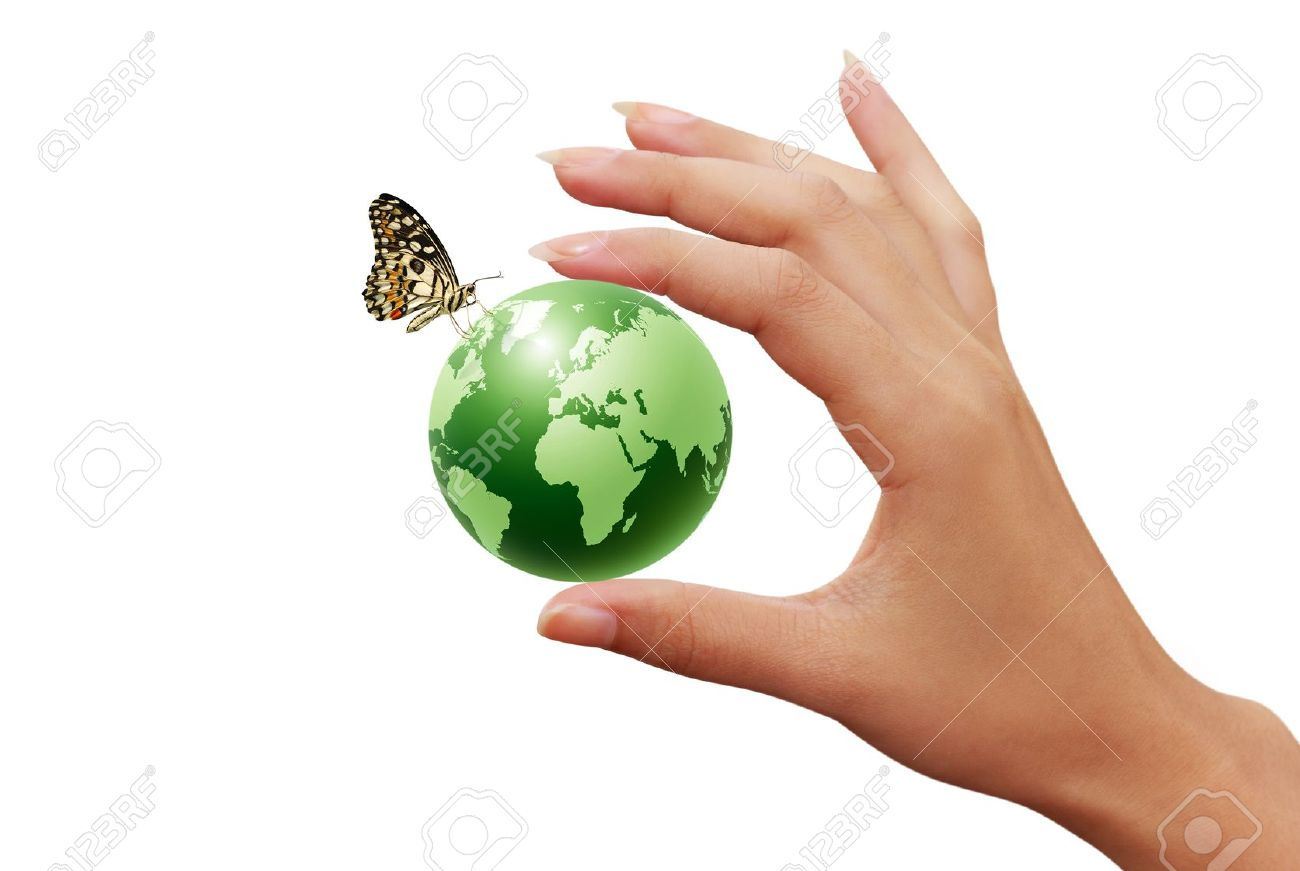 green earth globe in woman hands and butterfly Stock Photo - 11271465