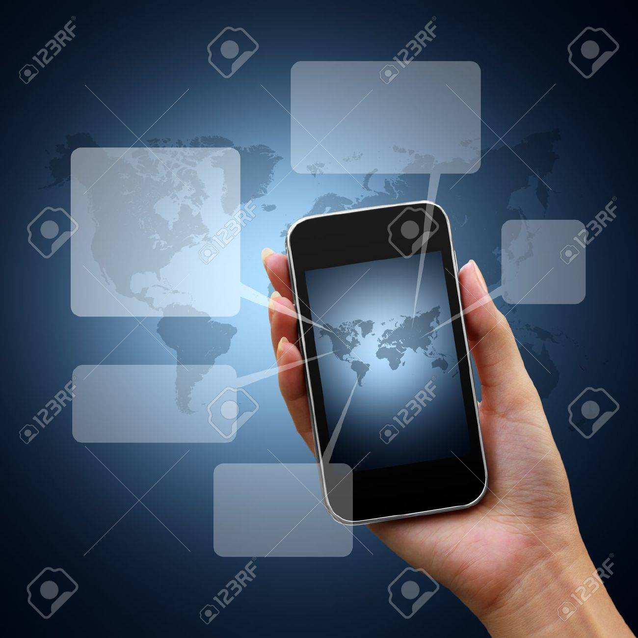 speech bubbles on mobile network woman hand on world background Stock Photo - 11484440