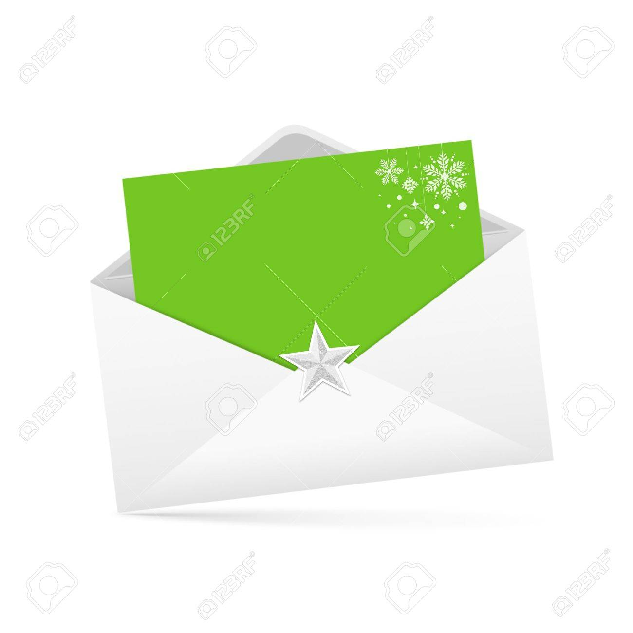 Envelope letter and green paper merry christmas isolated Stock Photo - 11484614