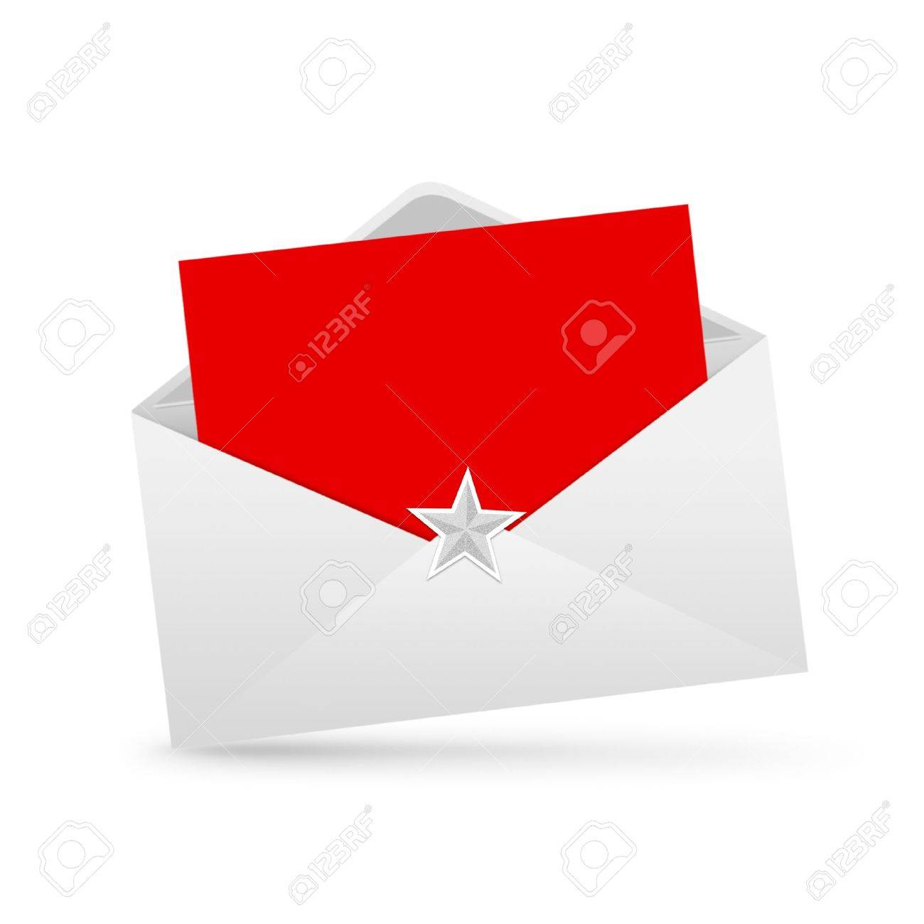 Envelope Letter And Red Paper Merry Christmas Isolated Stock Photo