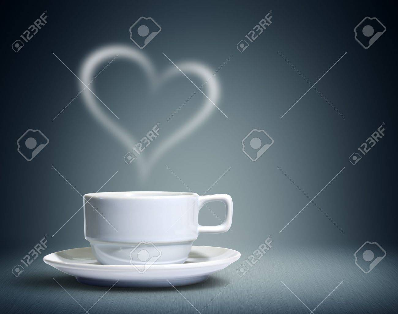 Coffee cup with heart shaped white smoke Stock Photo - 11771829