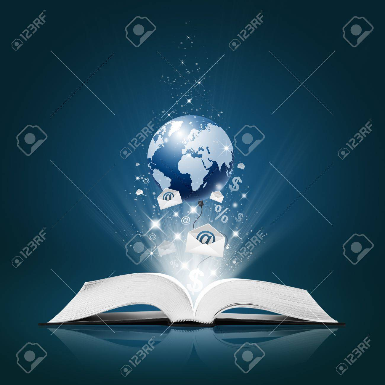 Earth and Envelope E-Mail, Business collection on open book Stock Photo - 11879215