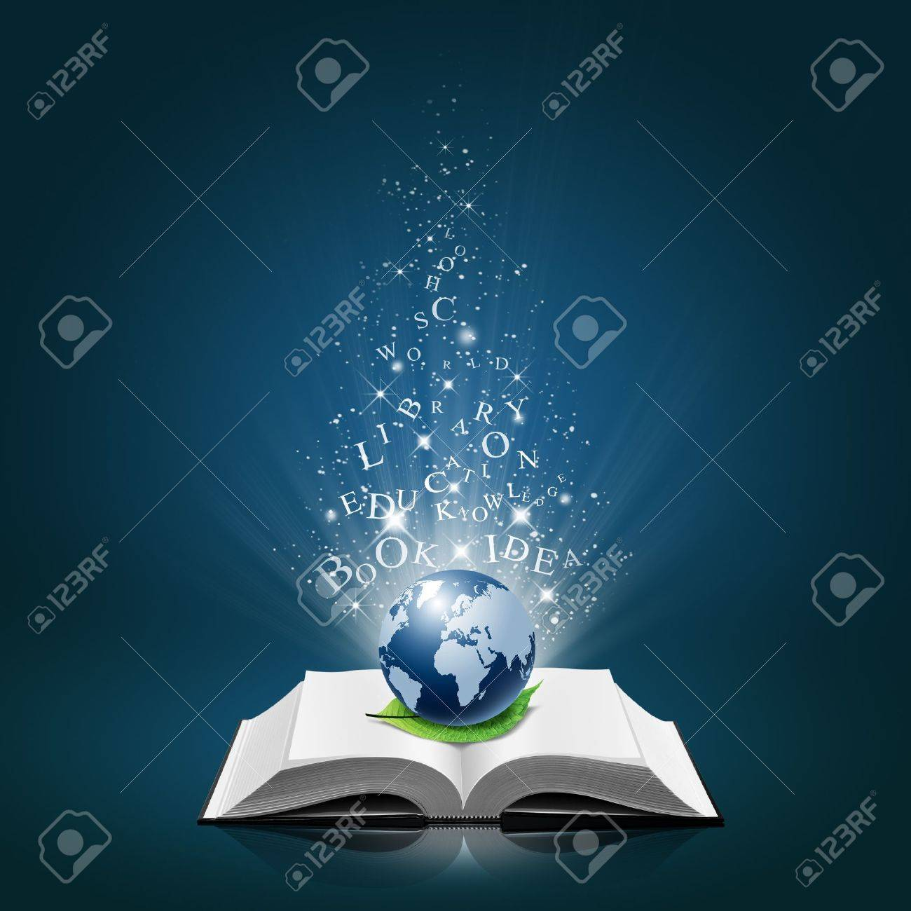 Blue global and leaf with text idea on open white book Stock Photo - 12023155