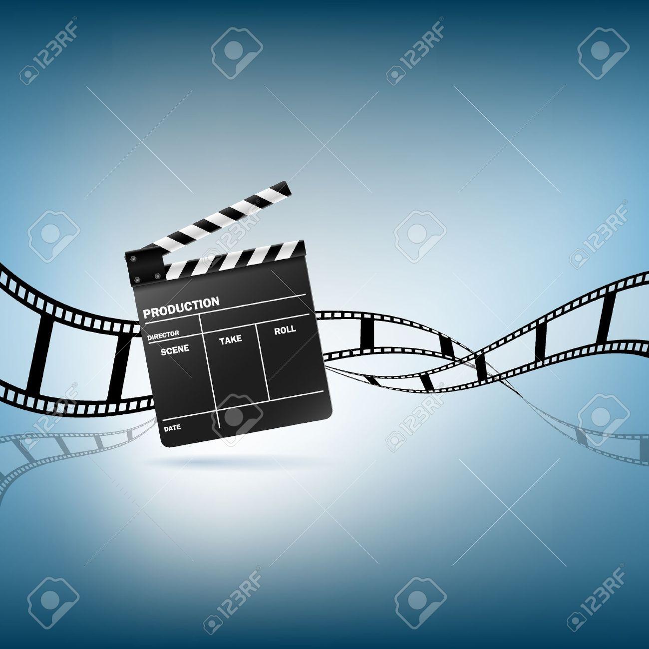 Cinema clapper and film vector illustration Stock Vector - 12269793