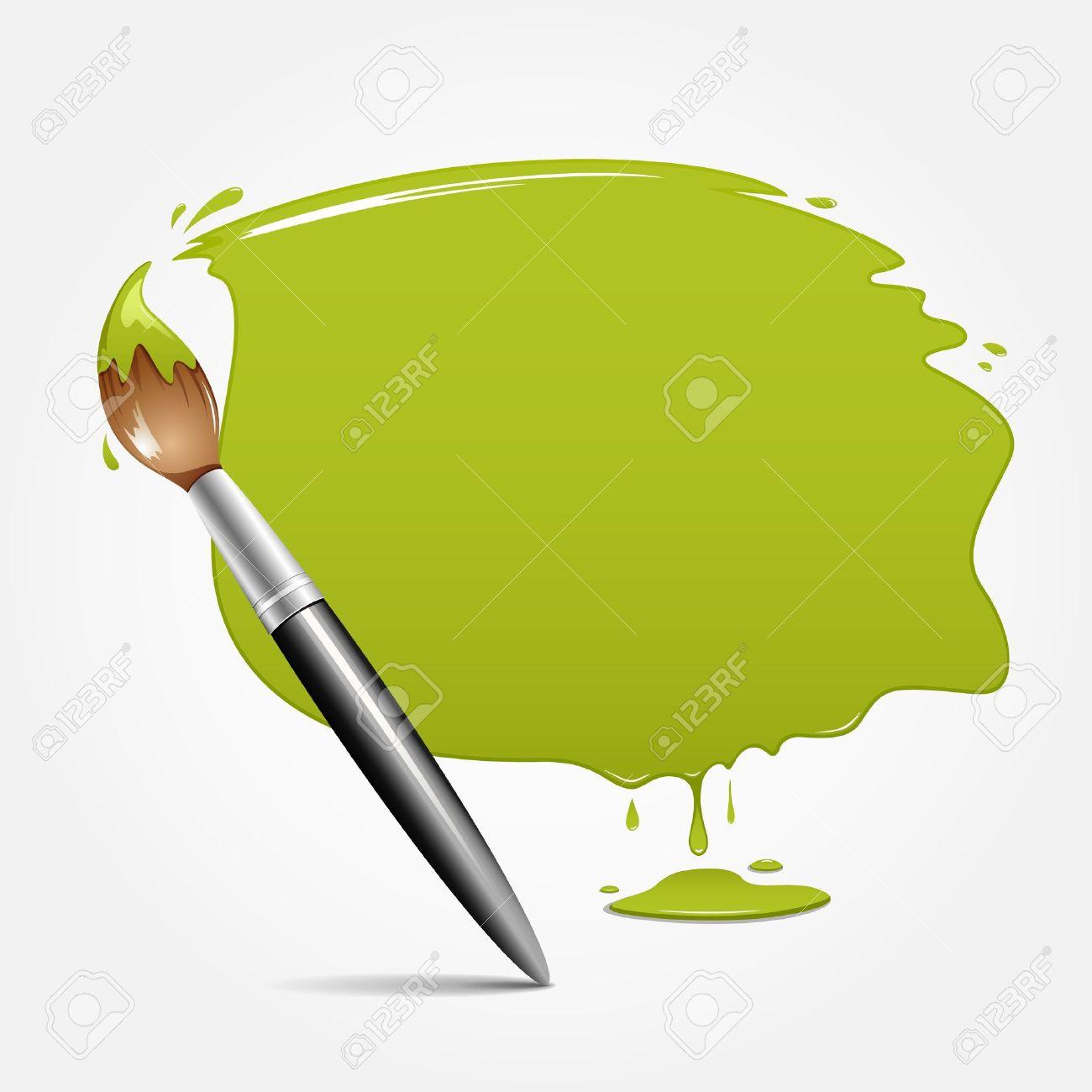 Paint brush green background, vector illustration - 14615688