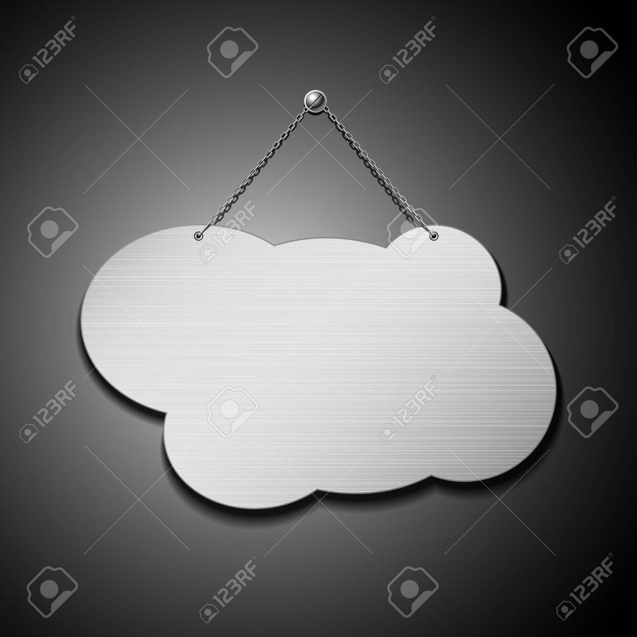 Empty cloud shape stainless steel with chain, vector illustration Stock Vector - 14615683