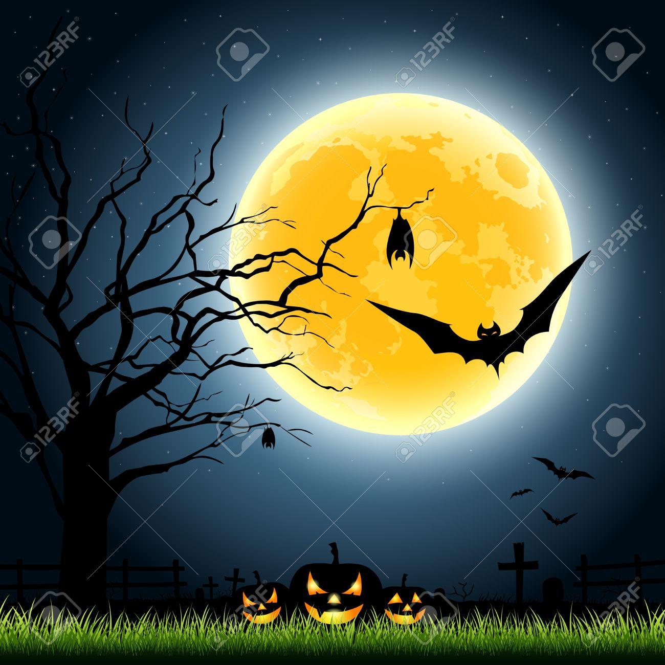 Halloween Full Moon, Illustration Royalty Free Cliparts, Vectors ...