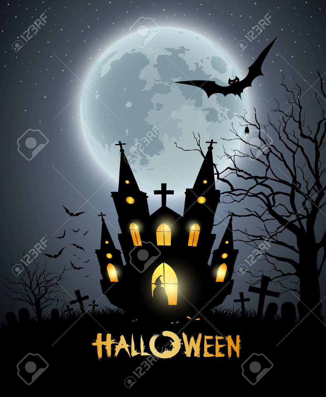 Happy Halloween Party House Scary Background Royalty Free Cliparts ...