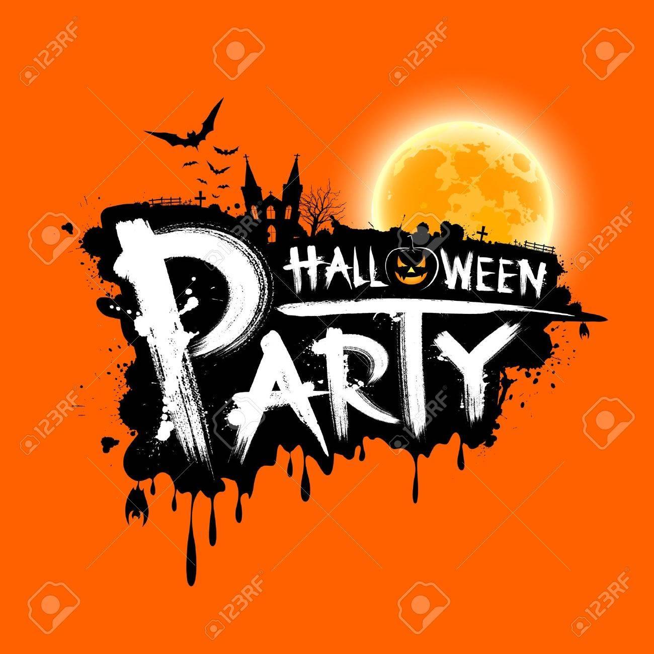 Happy Halloween Party Text Design On Orange Background Royalty ...