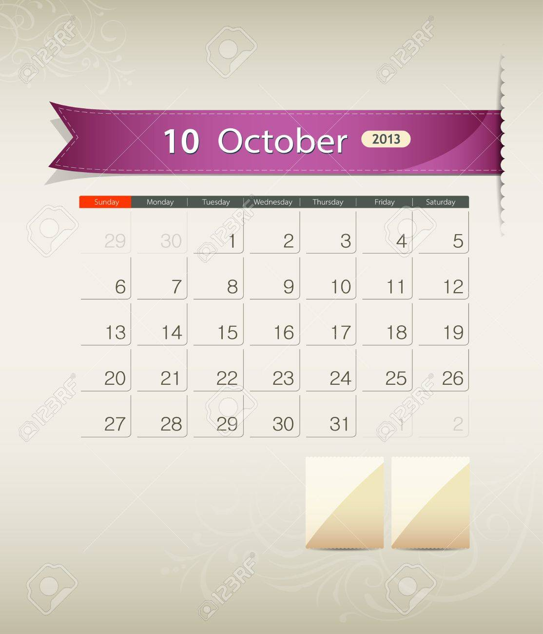 October 2013 calendar ribbon design, vector Stock Vector - 15966267