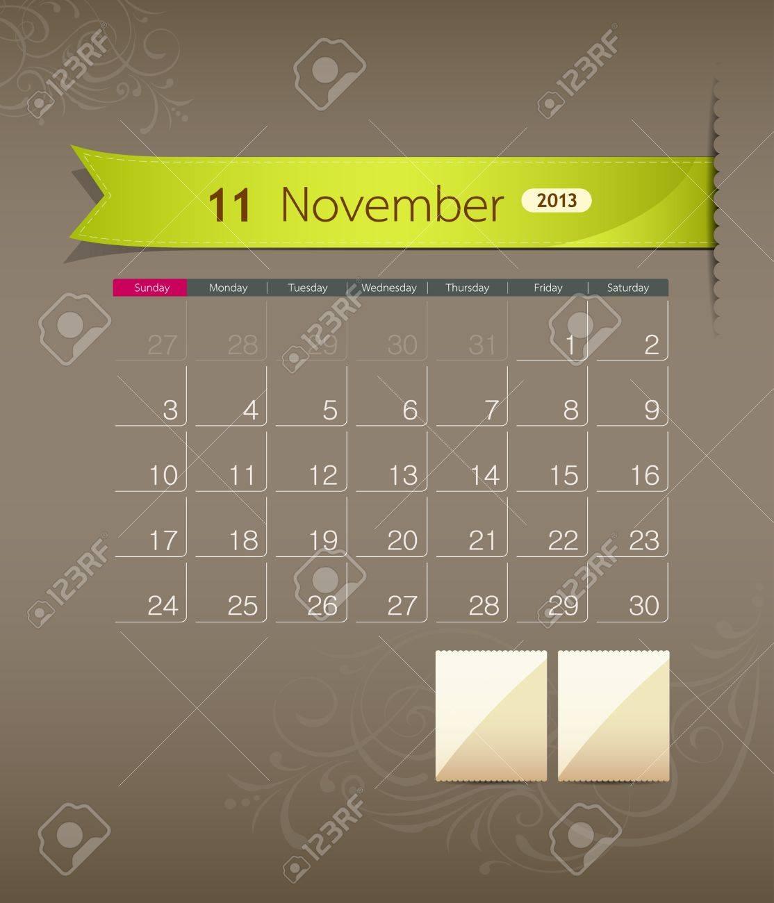 November 2013 calendar ribbon design, vector Stock Vector - 15966276