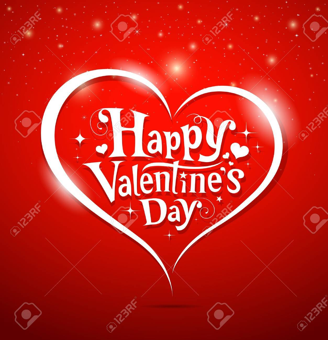 Happy Valentine s Day lettering Greeting Card on red background, vector Stock Vector - 17201347