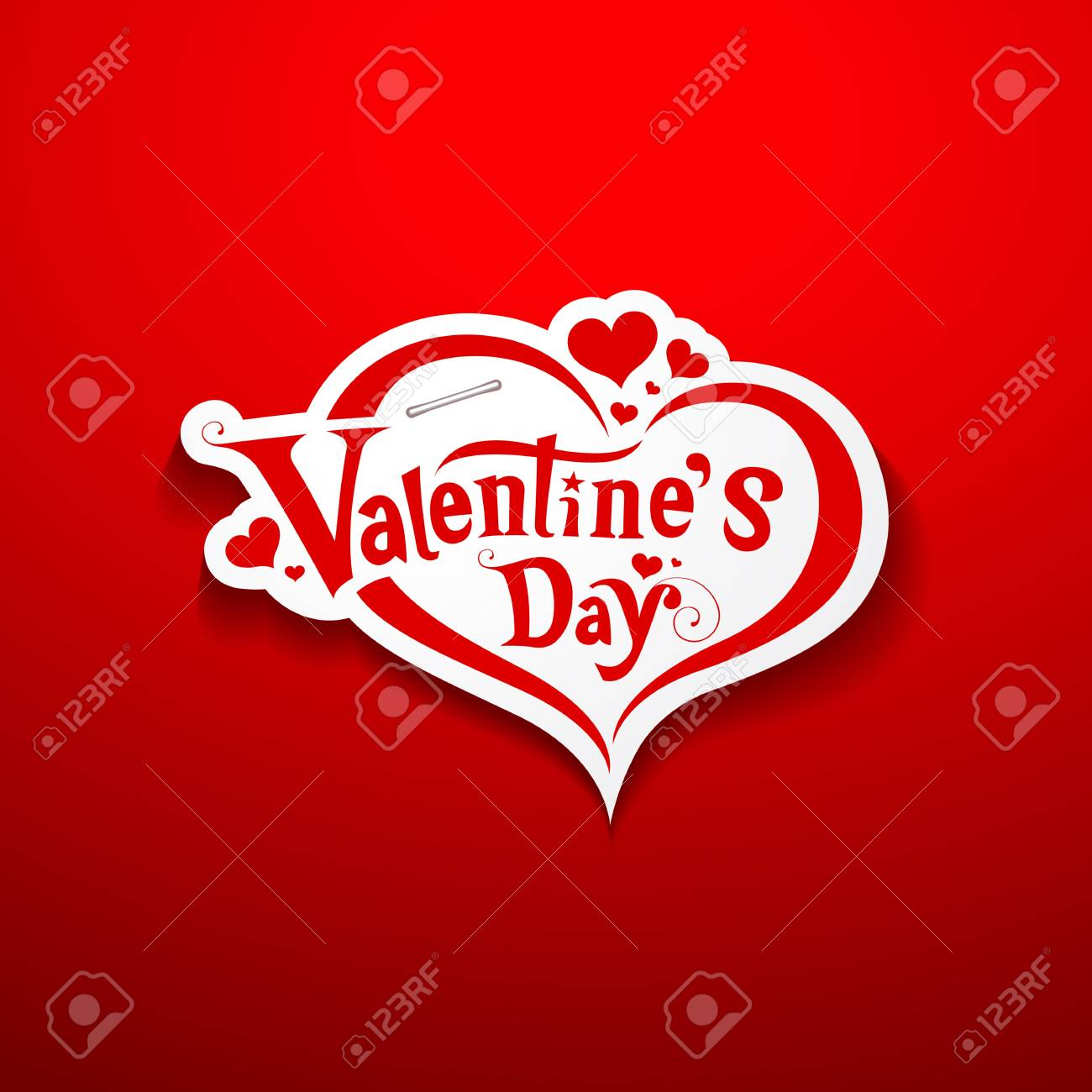 Happy Valentine Day lettering on paper background Stock Vector - 17757079
